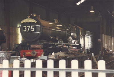 No. 6024 at rest in the shed at Tyseley, April 1990. © Chris Brown