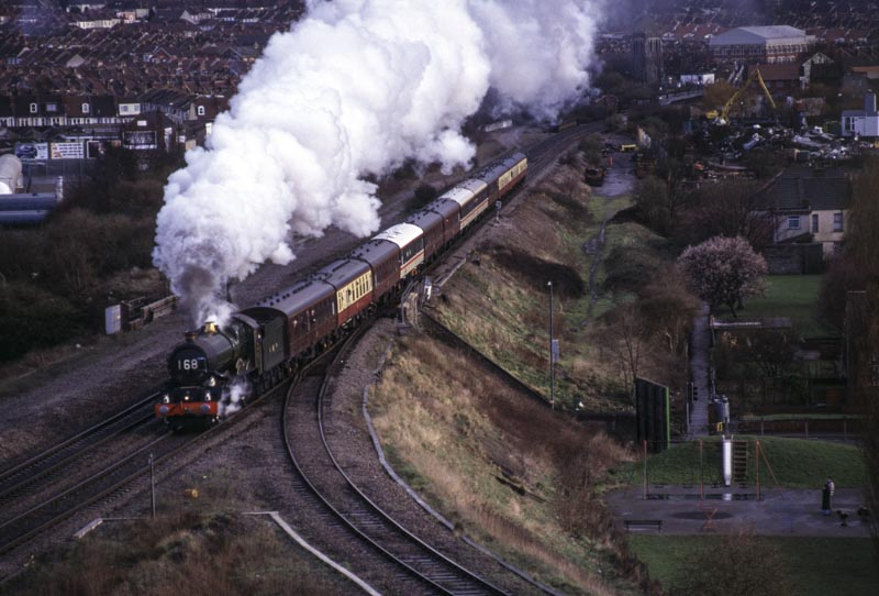 No. 6024 charges out of Bristol at Narroways Hill Junction, 25 February 1995. © Martyn Bane