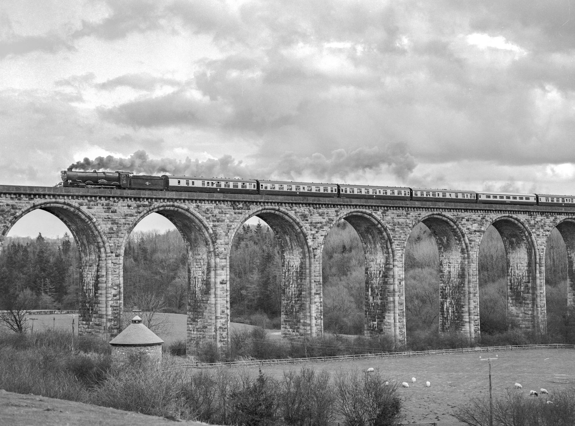 No. 6024 crosses Cefn Mawr viaduct, 21 February 1998. © Martyn Bane