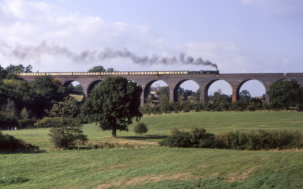 No. 6024 crossing Winterbourne Viaduct, 2 October 1996. © Martyn Bane