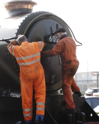 Bob Robson & Ron Smith close the smokebox door, 14 March 2012. © Gerry Hurfurt