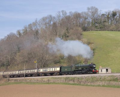 6024 passing Castle Hill on the West Somerset Railway, 25 March 2012. © Brain Bane