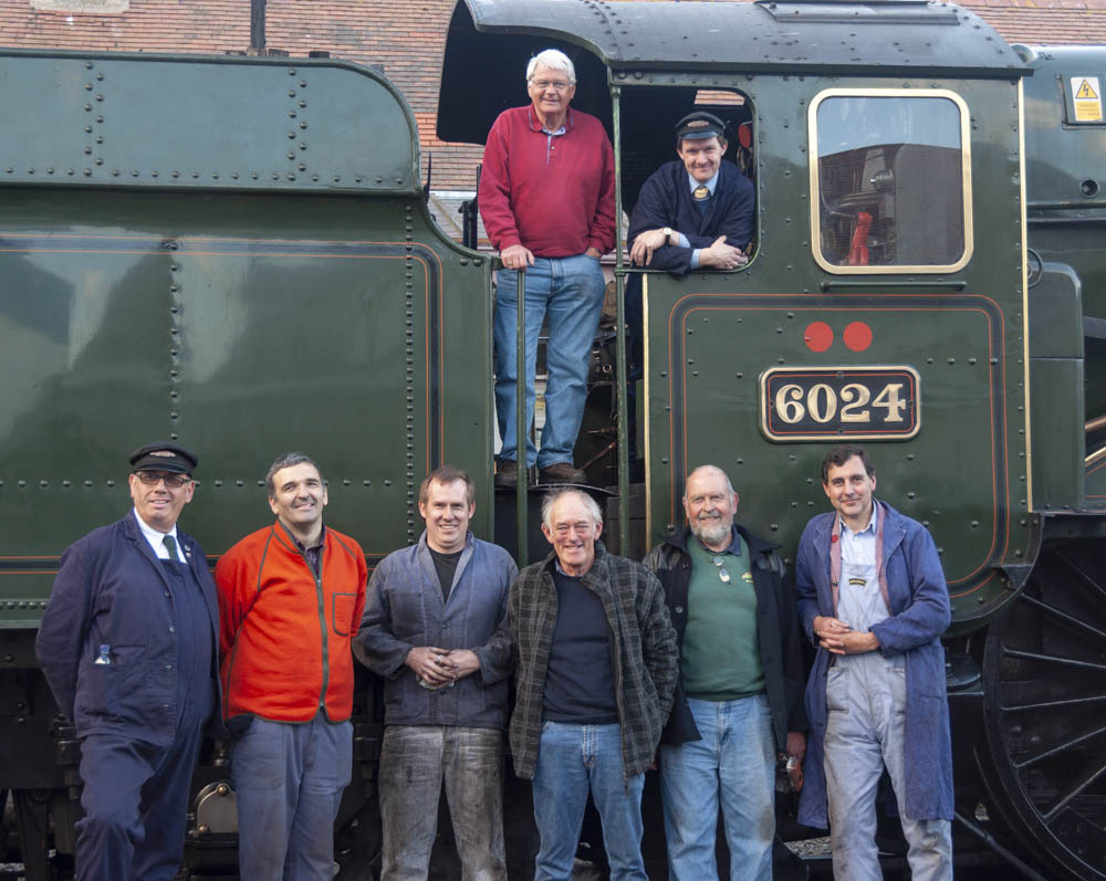 No. 6024 and various people involved on its last day prior to overhaul. The loco had just been parked up at Minehead at the end of its turn. © Martyn Bane
