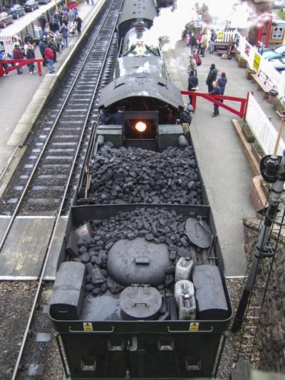 6024 at Bishops Lydeard showing some of the equipment kept on the rear of the tender when the loco is itinerant, 30 December 2008. © Brian Bane