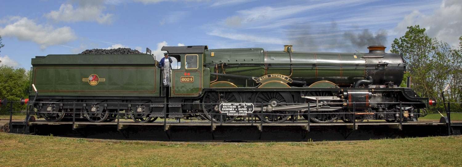 No. 6024 being turned on the turntable at Didcot Railway Centre, 2005. © Robin Coombes