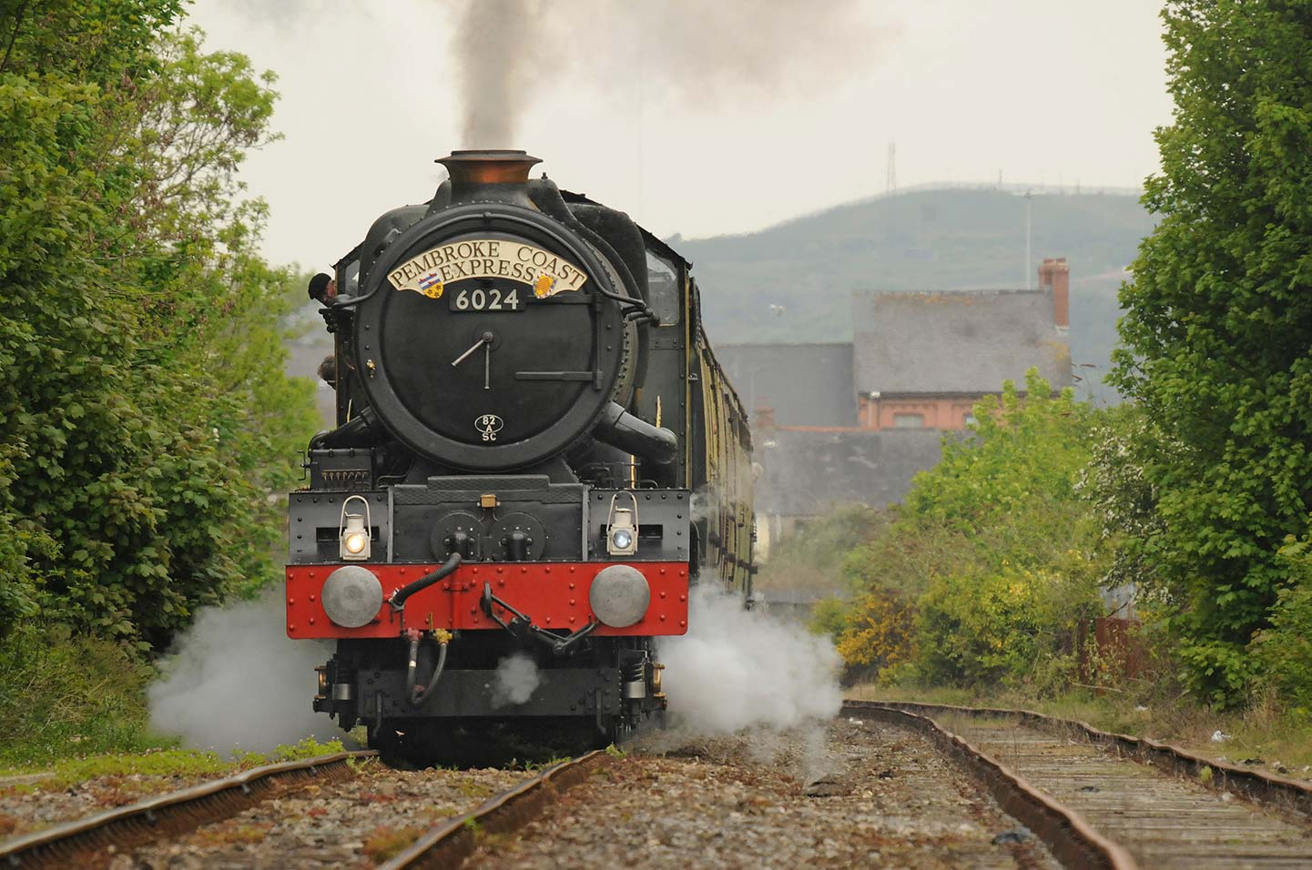 No. 6024 sets off from Pembroke Dock station, the first time any 'King' had been here, 1 May 2011. © Robin Coombes