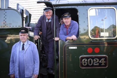 Driver Paul Burns, Inspector Jim Smith and Fireman Geoff Ewans at Exeter, 14 August 2005. © Roger Griffiths