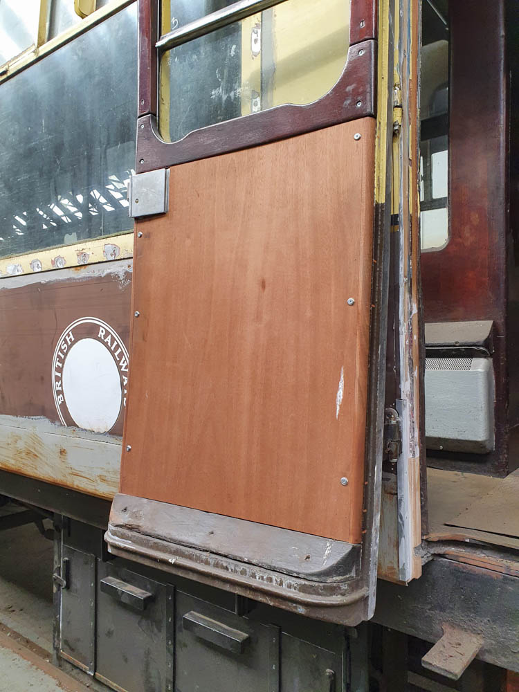 As part of the work being undertaken some repanelling has taken place internally, such as on this door. © Richard Corser