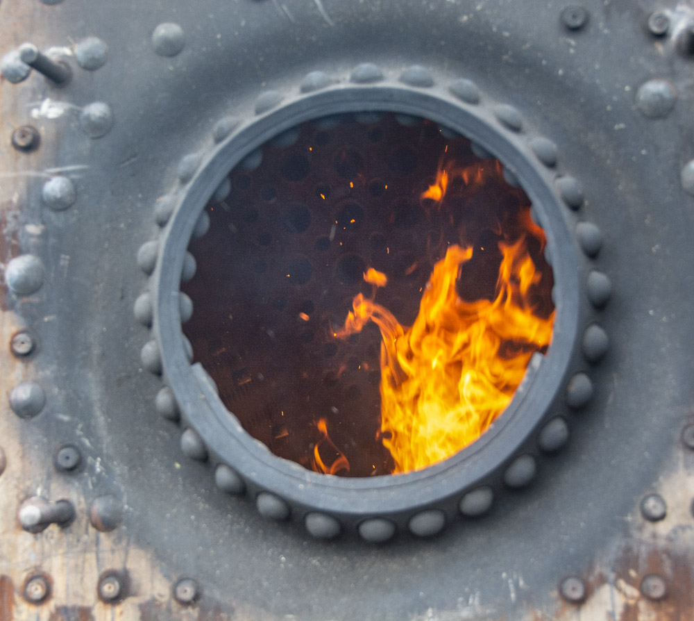 The brand new copper tubeplate can be glimpsed in this view. © Martyn Bane