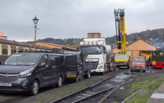 Riley, Allelys and South Coast Crane vehicles in the yard at Minehead. © Martyn Bane