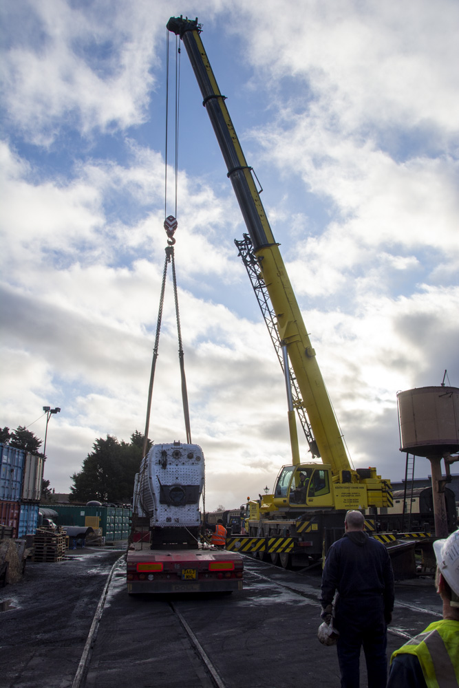 At around 27t a sizeable crane is needed to lift the boiler. © Martyn Bane