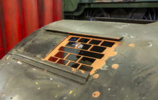 A grill has been welded into each vent in the cab roof as a safety feature. 08 February 2020 © Martyn Bane
