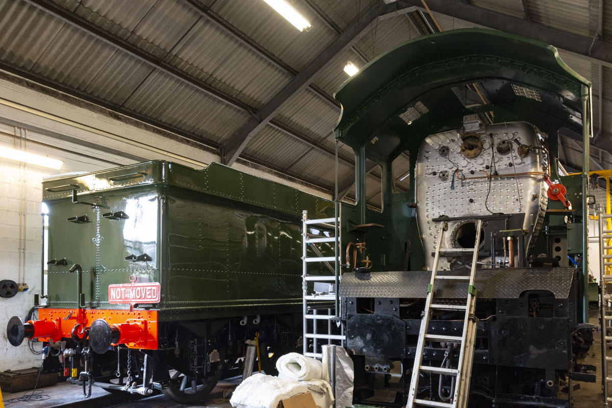 The tender has been beautifully painted for us by the WSR staff at Minehead. It sat alongside the engine for a little while, the first time in a long time this has happened. 11 October 2020 © Martyn Bane