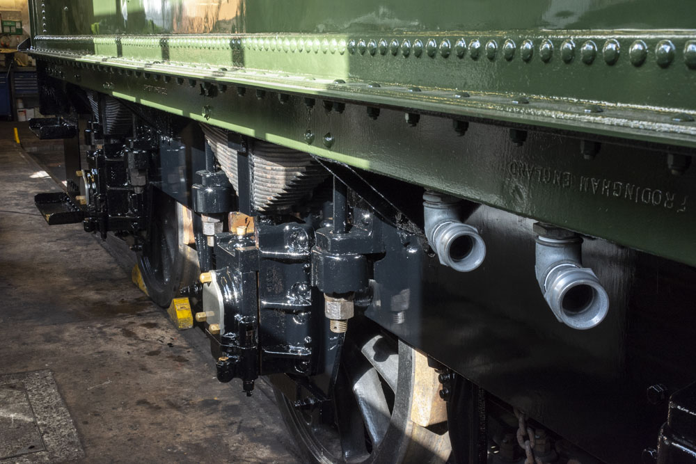 The freshly top-coated chassis showing the newly fitted low-level water fillers which will make watering on the mainline easier and safer that hitherto. 11 October 2020 © Martyn Bane