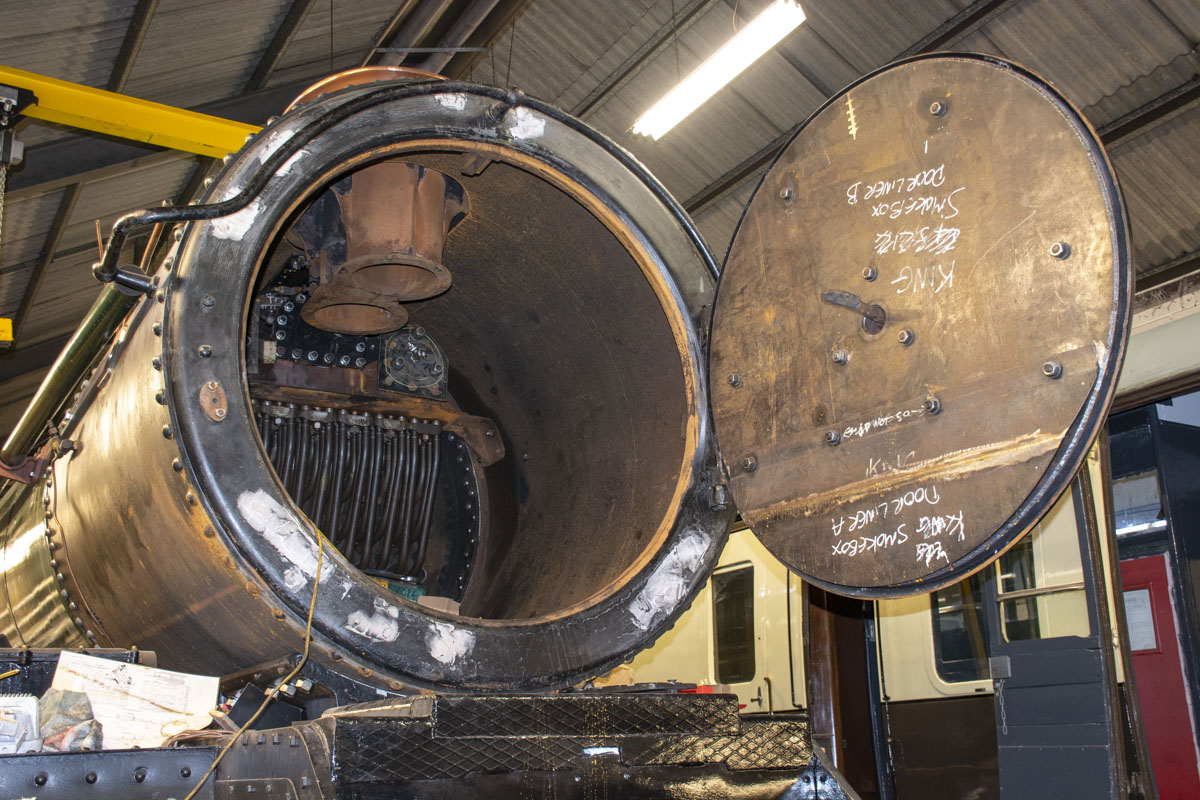The superheater elements, superheater header and chimney are back in place. The smokebox barrel is new as is the inner smokebox door (the inside face) but the smokebox door itself and the smokebox ring are those fitted in 2001. These two pieces remain in excellent condition. 31 October 2020 © Martyn Bane
