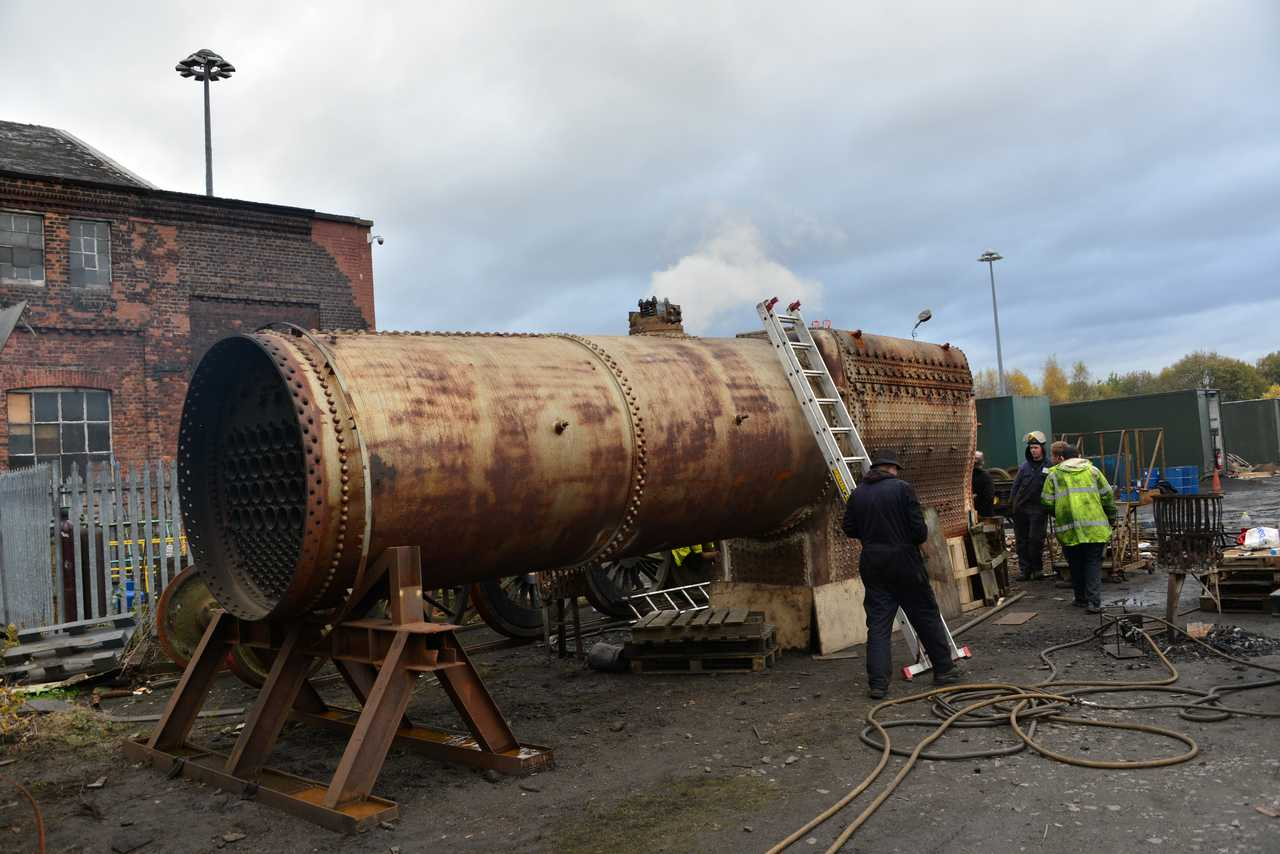 The safety valves are feathering just below 250psi as the boiler inspector does his job. © Ken Hill