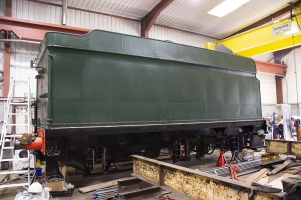 The tender tank trial fitted to the chassis to check all was in order, 4 July 2018. © Martyn Bane