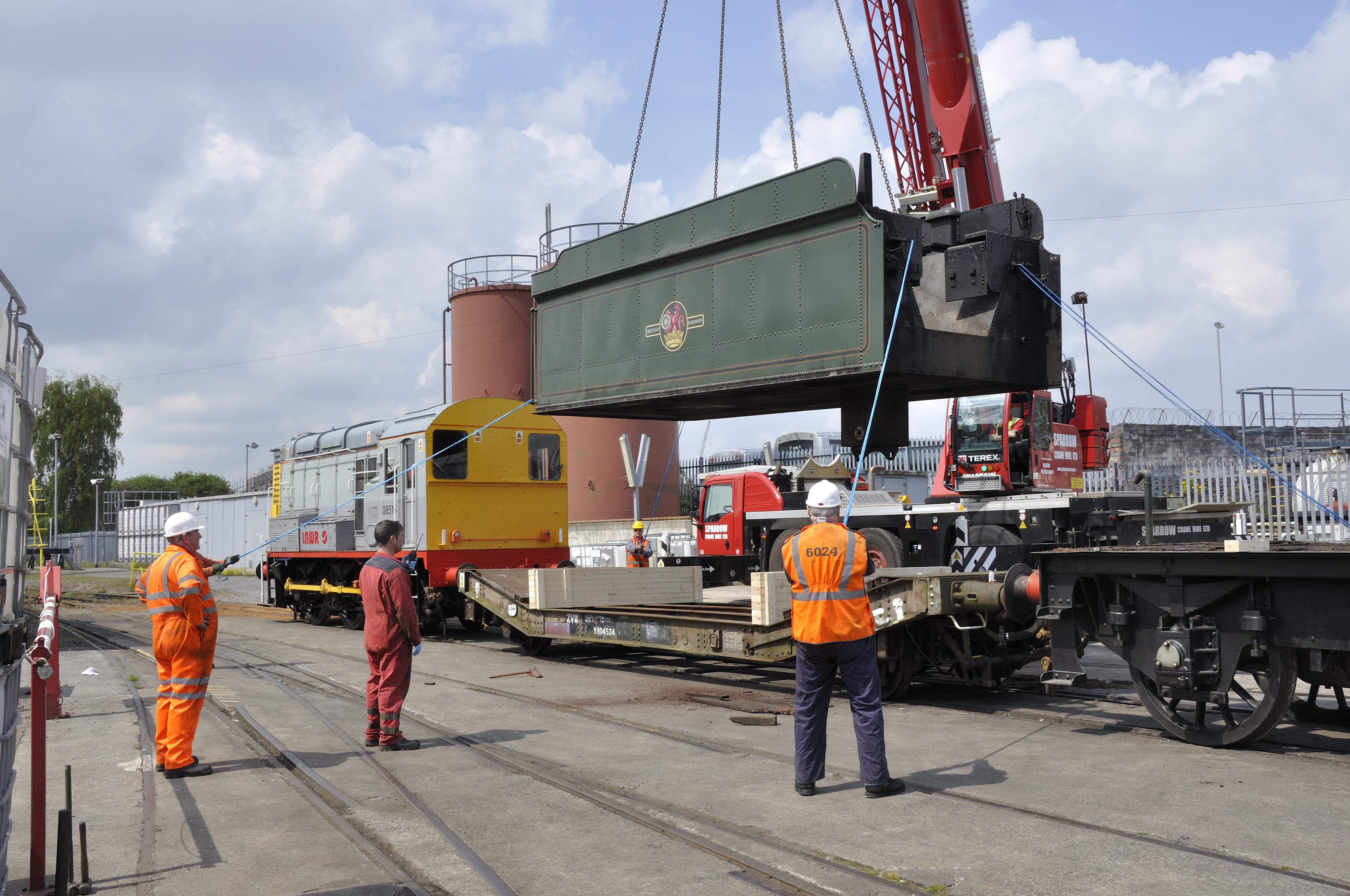 Lifting the tender tank of the frames at Bristol Barton Hill depot, 17 May 2013. © Martyn Bane
