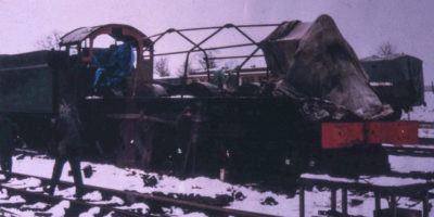 Working in all weathers! 1986. © Unknown, please contact us if you know the photographer