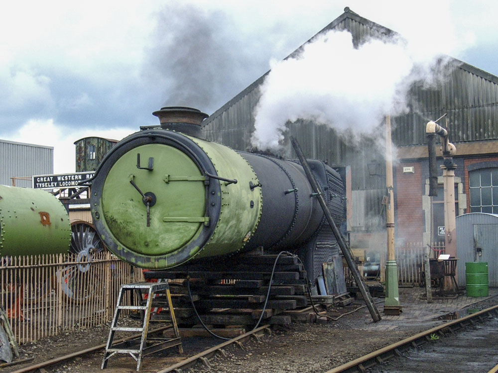 Freshly overhauled boiler No. 8910 undergoes a steam test at Tyseley, 17 April 2004. © Martyn Bane