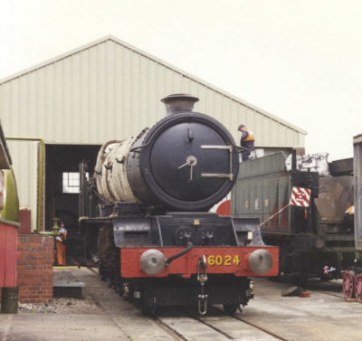 No. 6024 partially stripped for overhaul at BAD Kineton, 1995.© Bob Robson/6024 PS Ltd